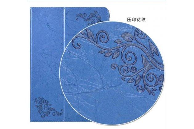 Фирменный чехол закрытого типа с красивым узором для планшета Chuwi Hi10 Plus  с держателем для руки синего цвета  натуральная кожа  Италия