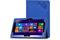 """Фирменный чехол закрытого типа с красивым узором для планшета Cube i10 10.6"""" с держателем для руки синий натуральная кожа  Италия"""