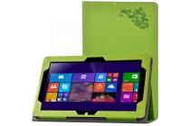 """Фирменный чехол закрытого типа с красивым узором для планшета Cube i10 10.6"""" с держателем для руки зеленый натуральная кожа Италия"""