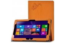 """Фирменный чехол закрытого типа с красивым узором для планшета Cube i10 10.6"""" с держателем для руки оранжевый натуральная кожа Италия"""