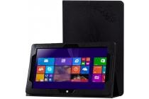 """Фирменный чехол закрытого типа с красивым узором для планшета Cube i10 10.6"""" с держателем для руки черный натуральная кожа  Италия"""