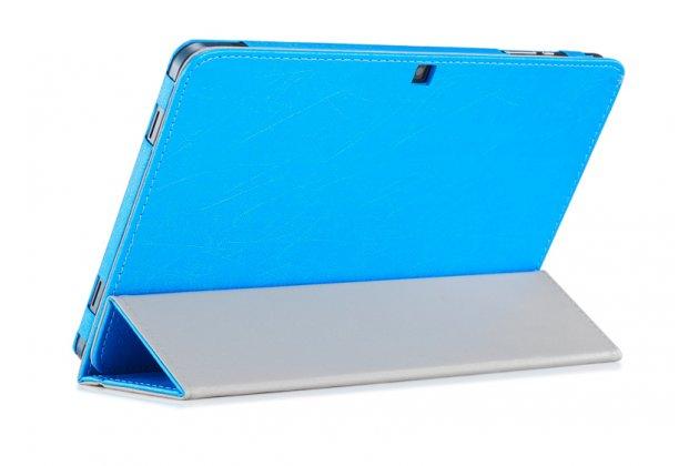 Фирменный чехол-футляр-книжка для Cube Mix Plus голубой кожаный