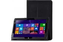 Фирменный чехол закрытого типа с красивым узором для планшета Cube Mix Plus с держателем для руки черный натуральная кожа Prestige Италия