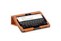 Фирменный чехол закрытого типа с красивым узором для планшета Cube Mix Plus с держателем для руки оранжевый натуральная кожа Prestige Италия