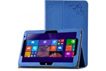 Фирменный чехол закрытого типа с красивым узором для планшета Cube Mix Plus с держателем для руки синий натуральная кожа Prestige Италия