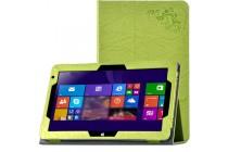 Фирменный чехол закрытого типа с красивым узором для планшета Cube Mix Plus с держателем для руки зеленый натуральная кожа Prestige Италия