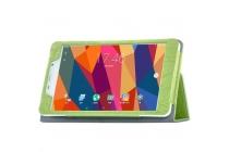 Фирменный чехол закрытого типа с красивым узором для планшета Cube T8 Ultimate / T8 Plus  с держателем для руки зеленый натуральная кожа  Италия