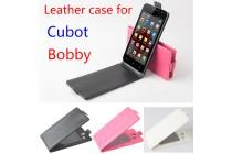 Фирменный оригинальный вертикальный откидной чехол-флип для CUBOT Bobby черный из натуральной кожи Prestige Италия
