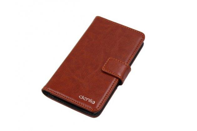 Фирменный чехол-книжка из качественной импортной кожи с подставкой застёжкой и визитницей для CUBOT C6 коричневый