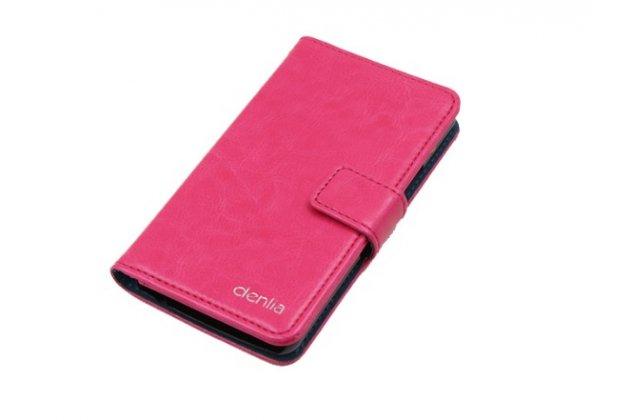 Фирменный чехол-книжка из качественной импортной кожи с подставкой застёжкой и визитницей для CUBOT C6 розовый