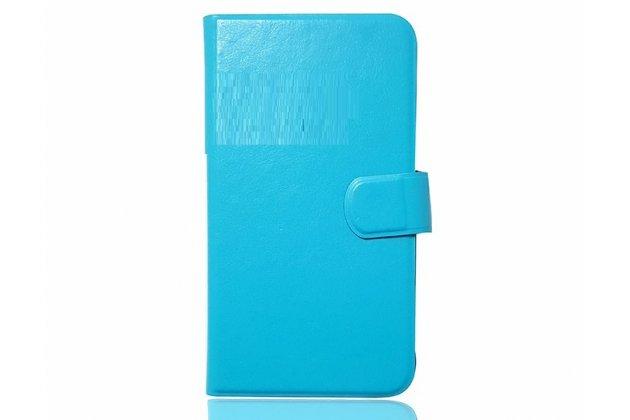 Фирменный чехол-книжка из качественной импортной кожи с подставкой застёжкой и визитницей для CUBOT Cheetahphone голубой