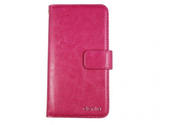 Фирменный чехол-книжка из качественной импортной кожи с подставкой застёжкой и визитницей для CUBOT Cheetahphone розовый
