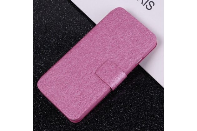 Фирменный чехол-книжка из качественной водоотталкивающей импортной кожи  для CUBOT Cheetahphone розовый