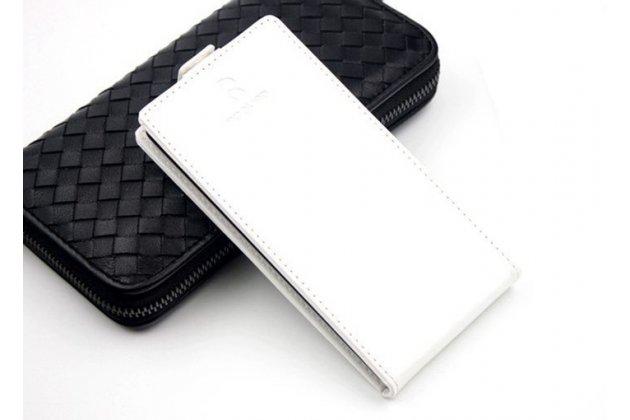 Фирменный оригинальный вертикальный откидной чехол-флип для CUBOT Cheetahphone белый из натуральной кожи Prestige Италия
