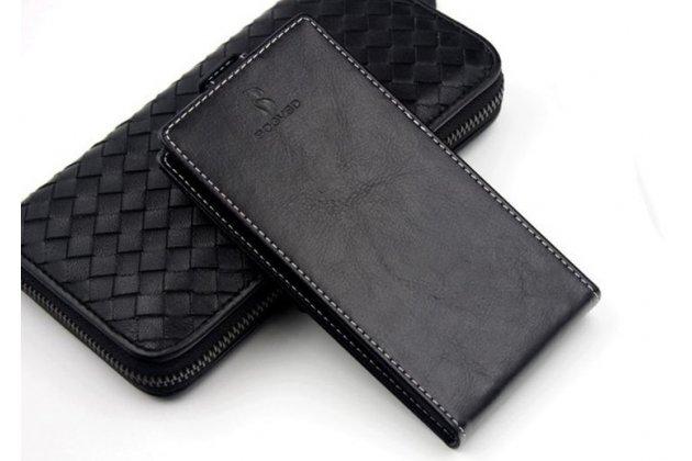 Фирменный оригинальный вертикальный откидной чехол-флип для CUBOT Cheetahphone черный из натуральной кожи Prestige Италия