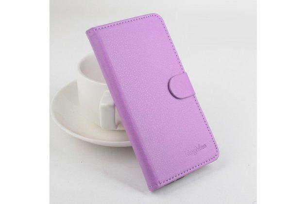 Фирменный чехол-книжка из качественной импортной кожи с подставкой застёжкой и визитницей для CUBOT GT88 фиолетовый