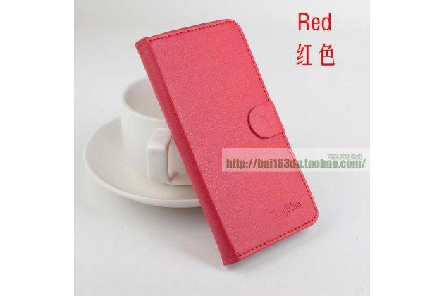 Фирменный чехол-книжка из качественной импортной кожи с подставкой застёжкой и визитницей для CUBOT GT88 красный