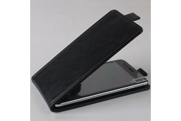 Фирменный оригинальный вертикальный откидной чехол-флип для CUBOT GT88 черный из натуральной кожи Prestige Италия