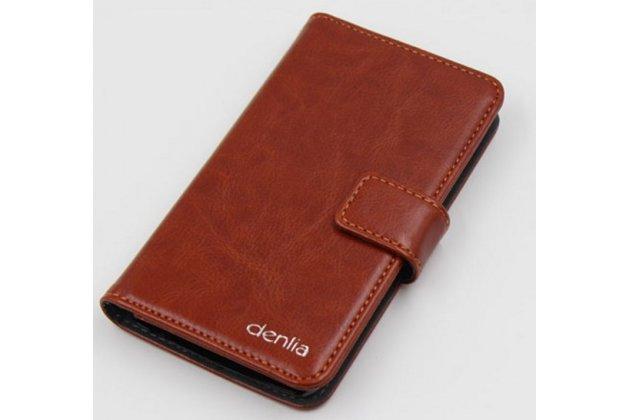 Фирменный чехол-книжка из качественной импортной кожи с подставкой застёжкой и визитницей для CUBOT GT95 коричневый