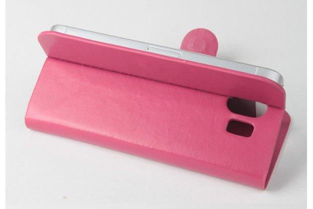Фирменный чехол-книжка из качественной импортной кожи с подставкой застёжкой и визитницей для CUBOT GT95 розовый