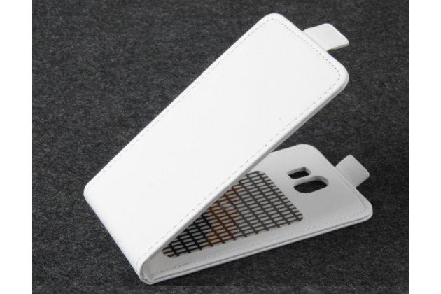 Фирменный оригинальный вертикальный откидной чехол-флип для CUBOT GT95 белый из натуральной кожи Prestige Италия