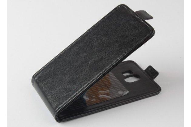 Фирменный оригинальный вертикальный откидной чехол-флип для CUBOT GT95 черный из натуральной кожи Prestige Италия