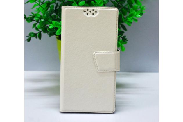 Фирменный чехол-книжка из качественной импортной кожи с подставкой застёжкой и визитницей для CUBOT Manito белый