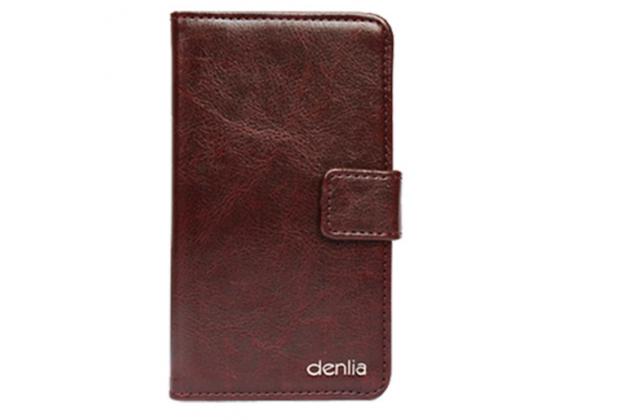 Фирменный чехол-книжка из качественной импортной кожи с подставкой застёжкой и визитницей для CUBOT Manito коричневый