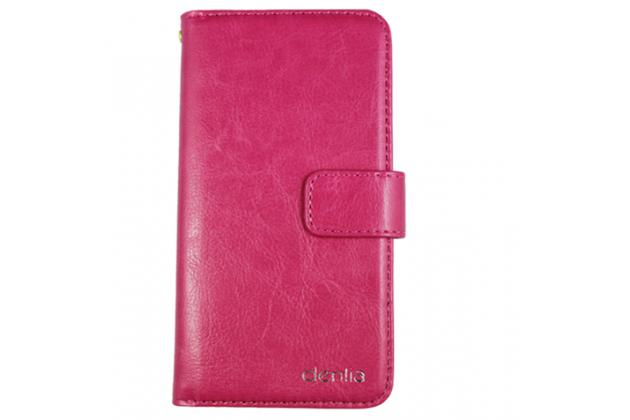 Фирменный чехол-книжка из качественной импортной кожи с подставкой застёжкой и визитницей для CUBOT Manito розовый
