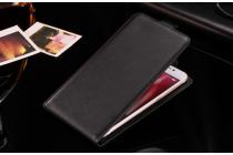 Фирменный оригинальный вертикальный откидной чехол-флип для CUBOT Manito черный из натуральной кожи Prestige Италия