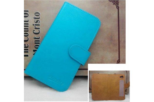 Фирменный чехол-книжка из качественной импортной кожи с подставкой застёжкой и визитницей для Cubot Max голубой