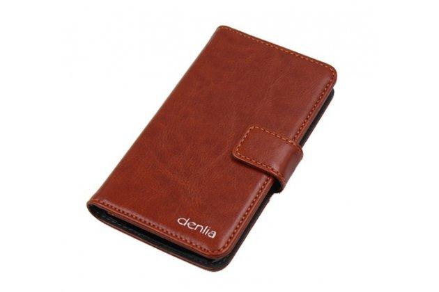 Фирменный чехол-книжка из качественной импортной кожи с подставкой застёжкой и визитницей для Cubot Max коричневый