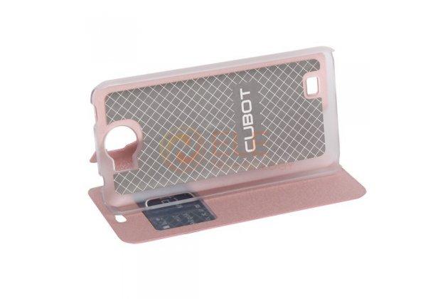 Фирменный оригинальный чехол-книжка для CUBOT P5 розовый с окошком для входящих вызовов водоотталкивающий
