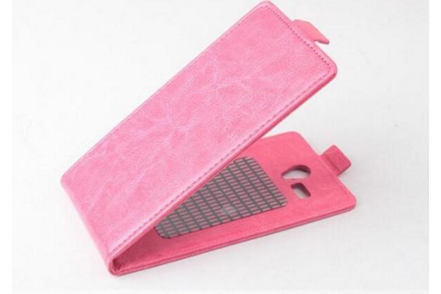 Фирменный оригинальный вертикальный откидной чехол-флип для CUBOT P5 розовый из натуральной кожи Prestige Италия