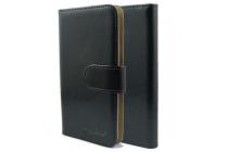 Фирменный чехол-книжка из качественной импортной кожи с подставкой застёжкой и визитницей для CUBOT P6 черный