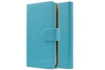 Фирменный чехол-книжка из качественной импортной кожи с подставкой застёжкой и визитницей для CUBOT P6 голубой