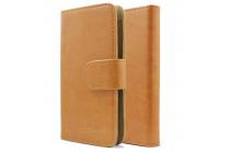 Фирменный чехол-книжка из качественной импортной кожи с подставкой застёжкой и визитницей для CUBOT P6 коричневый