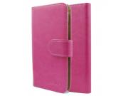 Фирменный чехол-книжка из качественной импортной кожи с подставкой застёжкой и визитницей для CUBOT P6 розовый..