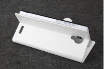 Фирменный чехол-книжка из качественной импортной кожи с подставкой застёжкой и визитницей для CUBOT P7 белый