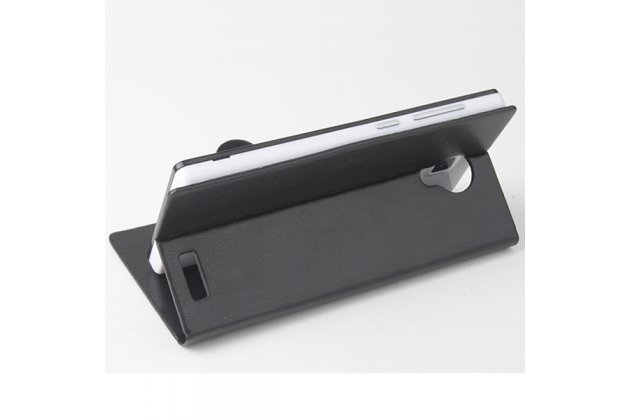 Фирменный чехол-книжка для CUBOT P7 с визитницей и мультиподставкой черный кожаный