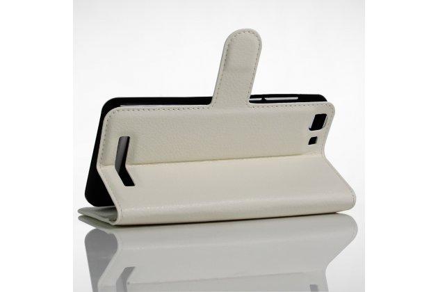 Фирменный чехол-книжка из качественной импортной кожи с подставкой застёжкой и визитницей для CUBOT Rainbow белый