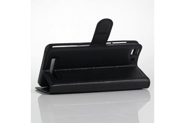 Фирменный чехол-книжка из качественной импортной кожи с подставкой застёжкой и визитницей для CUBOT Rainbow черный