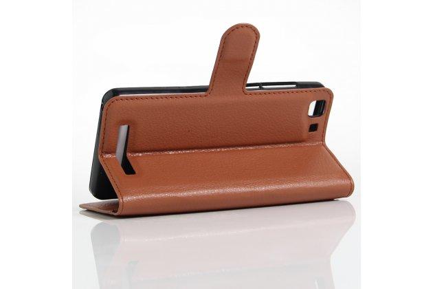 Фирменный чехол-книжка из качественной импортной кожи с подставкой застёжкой и визитницей для CUBOT Rainbow коричневый