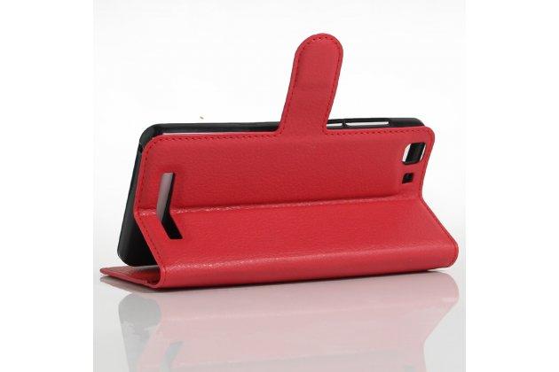 Фирменный чехол-книжка из качественной импортной кожи с подставкой застёжкой и визитницей для CUBOT Rainbow красный
