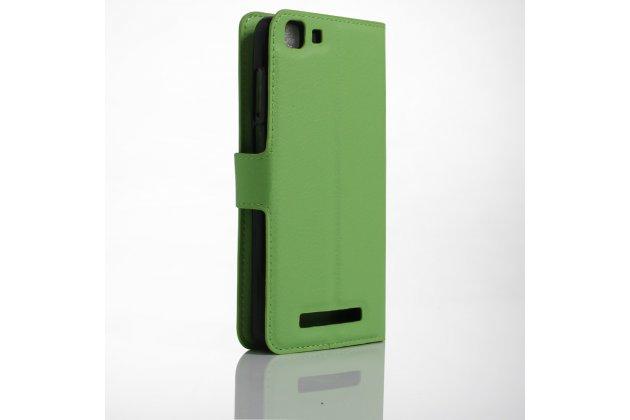 Фирменный чехол-книжка из качественной импортной кожи с подставкой застёжкой и визитницей для CUBOT Rainbow зеленый