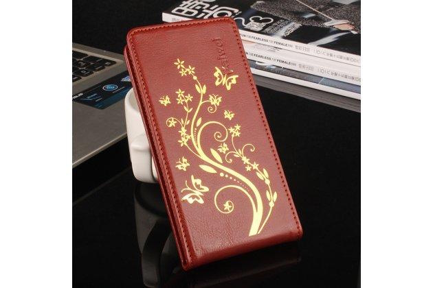 Фирменный оригинальный вертикальный откидной чехол-флип для CUBOT Rainbow коричневый из натуральной кожи тематика Золотое Цветение