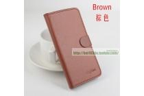 Фирменный чехол-книжка из качественной импортной кожи с подставкой застёжкой и визитницей для CUBOT S200 коричневый