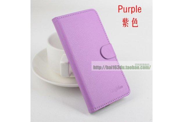Фирменный чехол-книжка из качественной импортной кожи с подставкой застёжкой и визитницей для CUBOT S200 фиолетовый