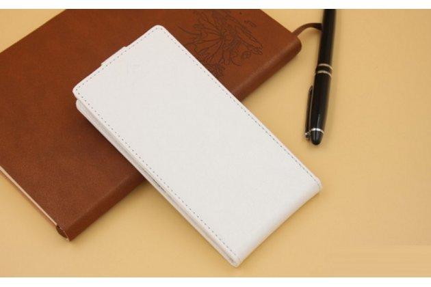 Фирменный оригинальный вертикальный откидной чехол-флип для CUBOT S200 белый из натуральной кожи Prestige Италия