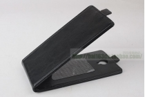 Фирменный оригинальный вертикальный откидной чехол-флип для CUBOT S350 черный из натуральной кожи Prestige Италия
